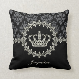 Princess Crown Vintage Damask Pillow