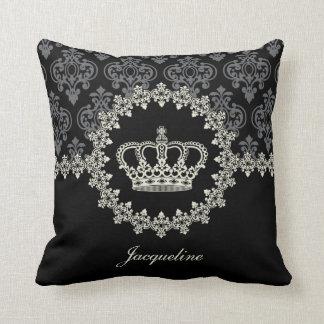 Princess Crown Vintage Damask Pillow Throw Pillows