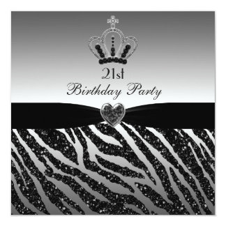 Princess Crown Zebra Glitter 21st Birthday 13 Cm X 13 Cm Square Invitation Card