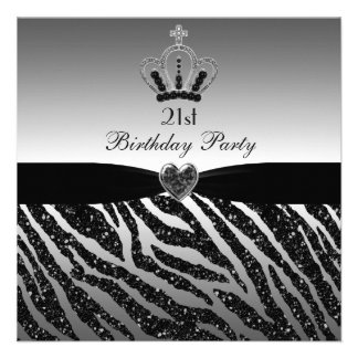 Princess Crown Zebra Glitter 21st Birthday Announcement