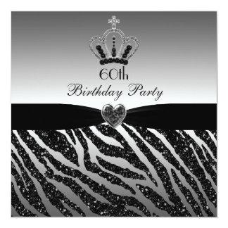 Princess Crown Zebra Glitter 60th Birthday 13 Cm X 13 Cm Square Invitation Card
