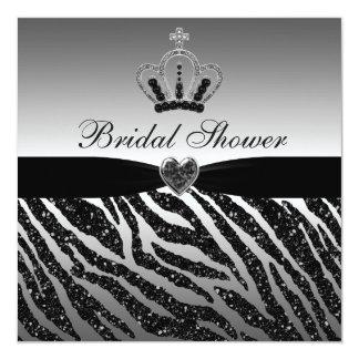 Princess Crown & Zebra Glitter Bridal Shower Personalized Announcements