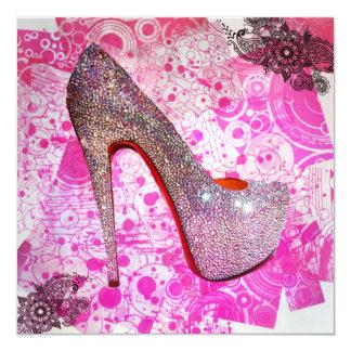 Princess Crystal Heel Greeting 13 Cm X 13 Cm Square Invitation Card
