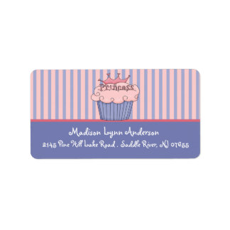 Princess Cupcake Return Address Labels. Label