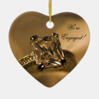 Princess Cut Diamond Engagement Ring Christmas Ornament