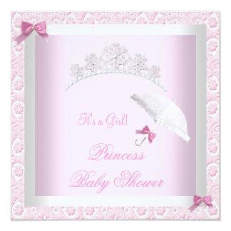 Princess Cute Baby Shower Pretty Pink Lace 13 Cm X 13 Cm Square Invitation Card