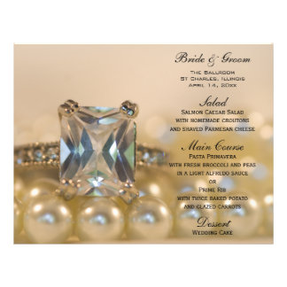 Princess Diamond and Pearls Wedding Menu 21.5 Cm X 28 Cm Flyer