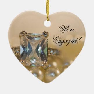 Princess Diamond and White Pearls Engagement Ceramic Heart Decoration
