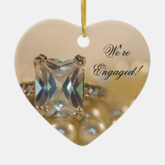 Princess Diamond and White Pearls Engagement Christmas Ornament