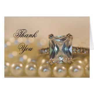 Princess Diamond Ring Pearls Bridesmaid Thank You Note Card