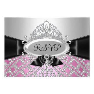 Princess Diamond Tiara & Bow RSVP Invitation