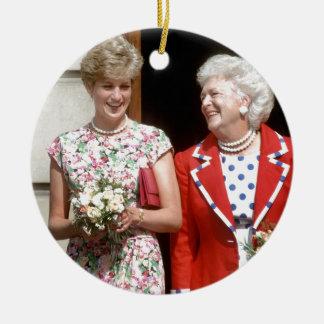 Princess Diana-Barbara Bush Round Ceramic Decoration
