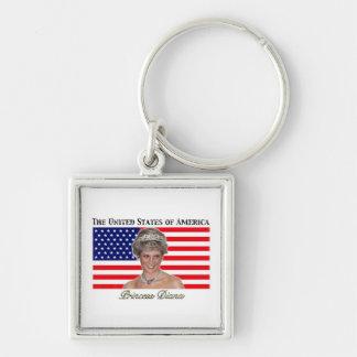 Princess Diana USA Flag Keychains