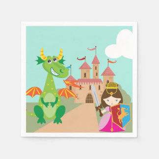 Princess Dragon and Knight Paper Serviettes