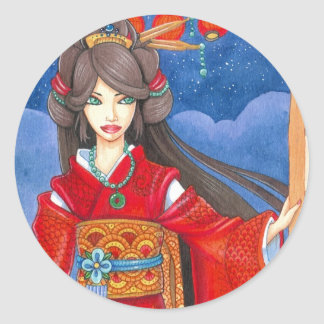 Princess Dragon Sticker, Large Round Sticker