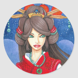 Princess Dragon Sticker, Small Round Sticker