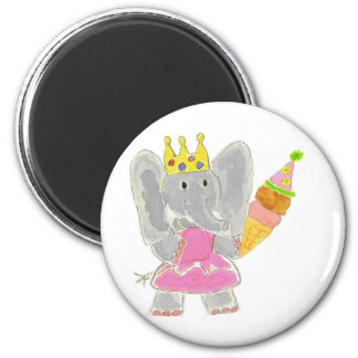 Princess Elephant Birthday Ice Cream 6 Cm Round Magnet