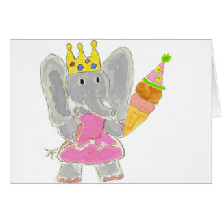 Princess Elephant Birthday Ice Cream Greeting Cards