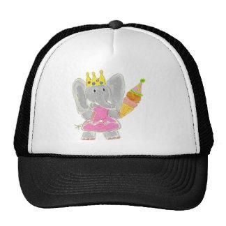 Princess Elephant Birthday Ice Cream Mesh Hats