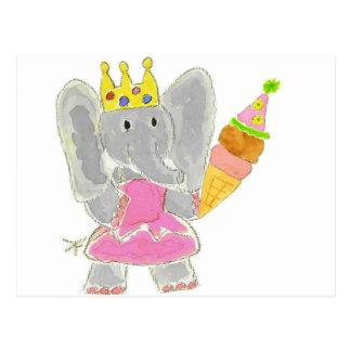 Princess Elephant Birthday Ice Cream Postcard