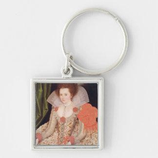 Princess Elizabeth, daughter of James I, 1612 Silver-Colored Square Key Ring