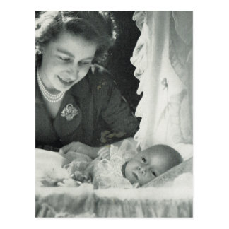 Princess Elizabeth with baby Prince Charles Postcard