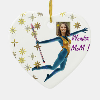 Princess Fairy Wand, Blue - with YOUR Photo - Ceramic Heart Decoration