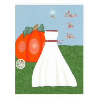 Princess FairyTale Pumpkin Carriage Save the date Postcard