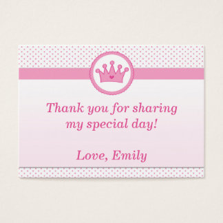 Princess Gift Favor Label Thank You Tag Pink Business Card