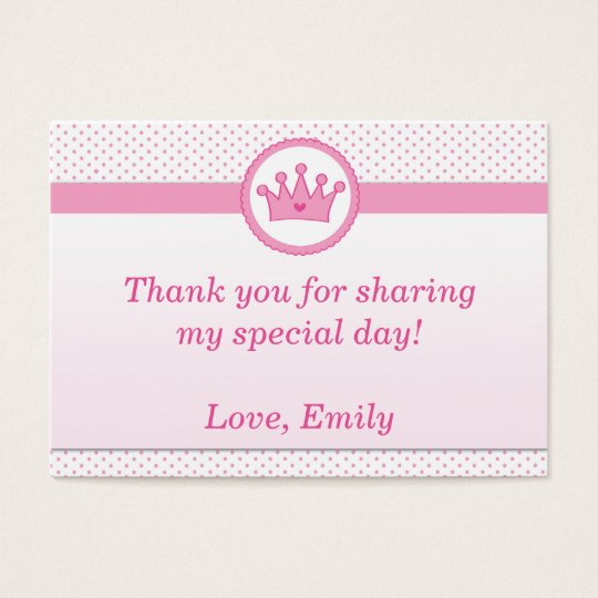 Princess Gift Favour Label Thank You Tag Pink