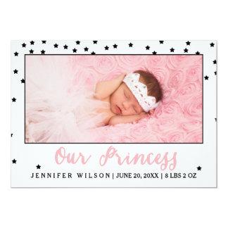 Princess Girl Baby Birth Announcement Photo Card