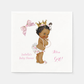 Princess Girl Baby Shower Pink Gold Crown Ethnic Disposable Napkin