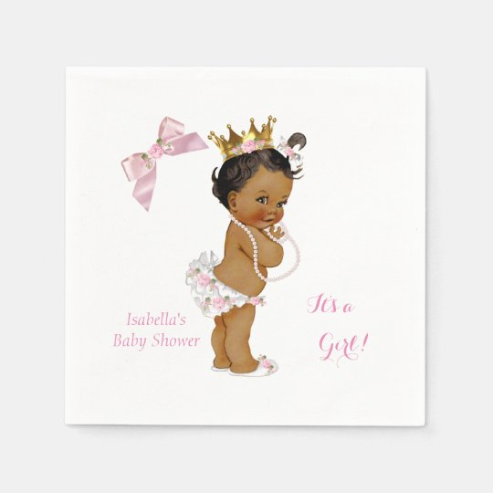 Princess Girl Baby Shower Pink Gold Crown Ethnic