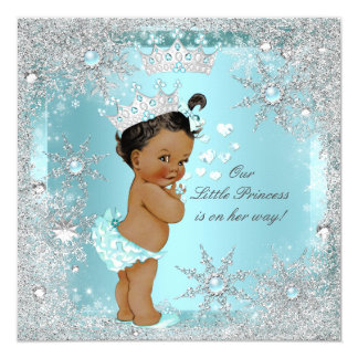 Princess Girl Baby Shower Teal Blue Hearts Ethnic 13 Cm X 13 Cm Square Invitation Card