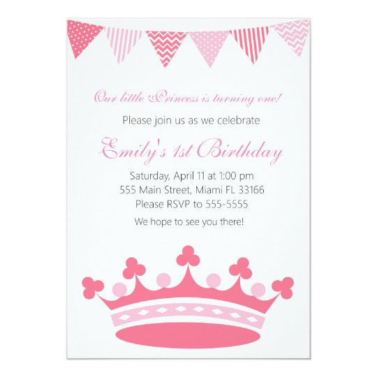 Princess Girl Birthday Party Invitation Pink