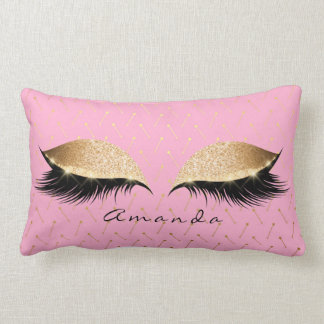 Princess Gold Glitter Black Makeup Name Pink Rose Lumbar Cushion