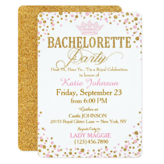 Princess Gold Glitter Sprinkle Bachelorette Party Card