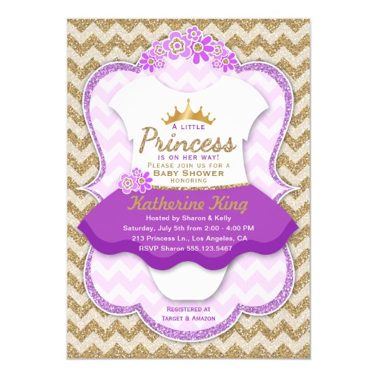 Princess Gold Glitter Tutu Baby Shower Invitation