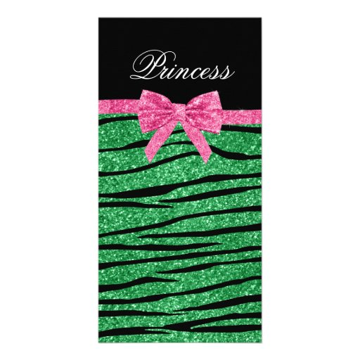 Princess green glitter zebra stripes pink bow photo greeting card