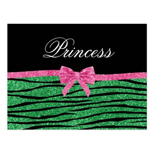 Princess green glitter zebra stripes pink bow post card