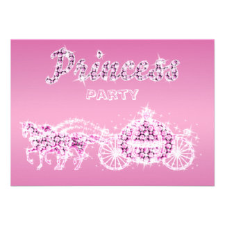 Princess Horses & Carriage Birthday Party Announcements
