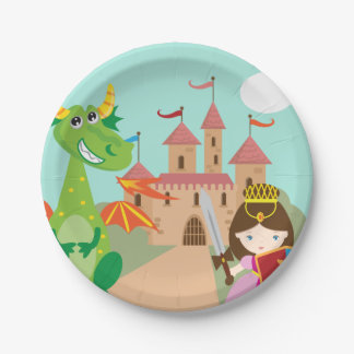 Princess in Pink Castle and Smiling Dragon Paper Plate