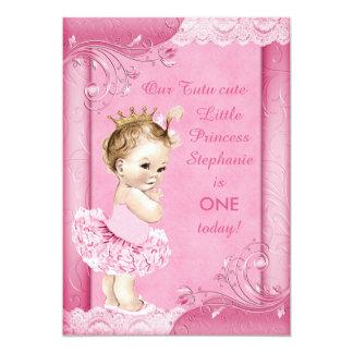 Princess in Tutu Baby 1st Birthday Faux Lace 13 Cm X 18 Cm Invitation Card