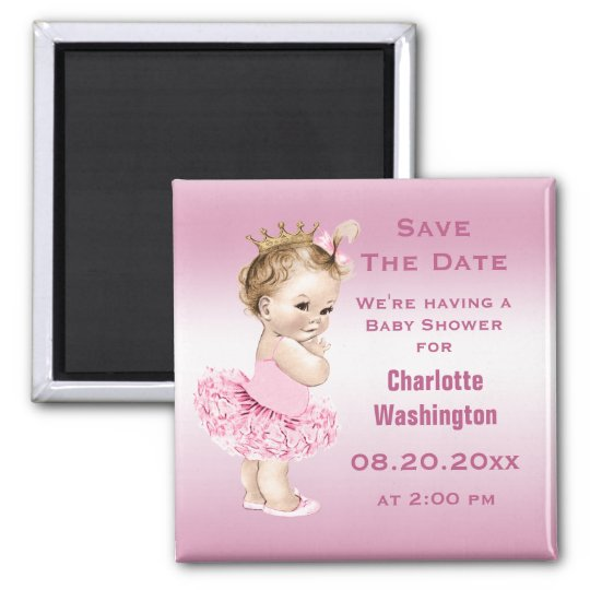 Princess in Tutu Baby Shower Save the Date Pink Magnet