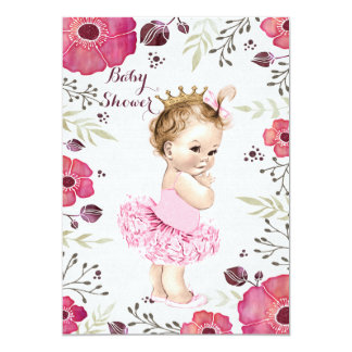 Princess in Tutu Watercolor Poppies Baby Shower 13 Cm X 18 Cm Invitation Card