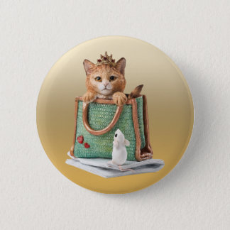 Princess Kitten in Bag with Mouse & Magazine 6 Cm Round Badge