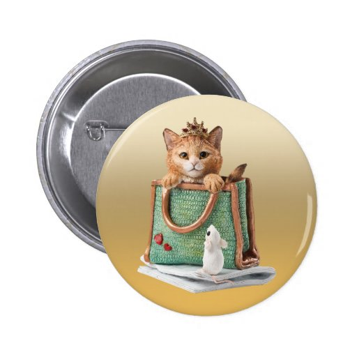 Princess Kitten in Bag with Mouse & Magazine Pinback Buttons