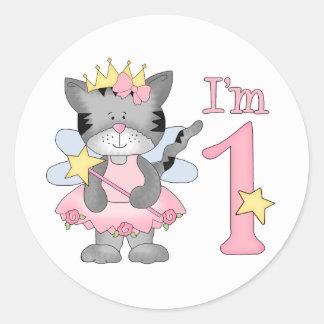 Princess Kitty 1st Birthday Round Sticker