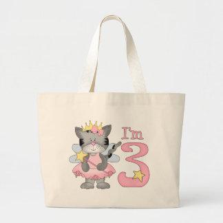 Princess Kitty 3rd Birthday Large Tote Bag