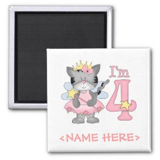 Princess Kitty 4th Birthday Square Magnet